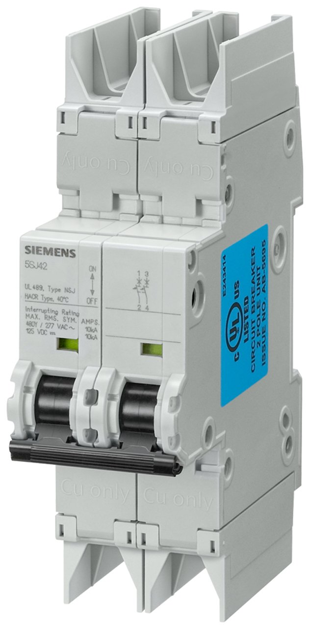 Siemens 5SJ42357HG42 Miniature Circuit Breaker, UL 489 Rated, 2 Pole Breaker, 35 Ampere Maximum, Tripping Characteristic C, DIN Rail Mounted, Type NSJ, 480Y/277 VAC, 125 VDC
