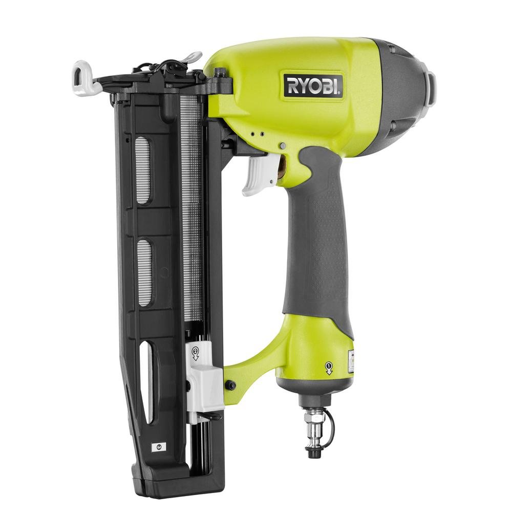 Ryobi 6 Gal. 150 PSI-Output Electric Pancake Compressor with Ryobi 18-Gauge Brad Nailer and 16-Gauge Finish Nailer Tool Combo Kit, Vertical Tank for ...