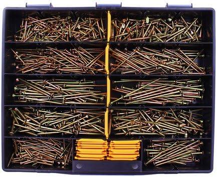 700 tlg Spanplattenschrauben Sortiment Senkkopf gelb TX 4x40 bis 5x100