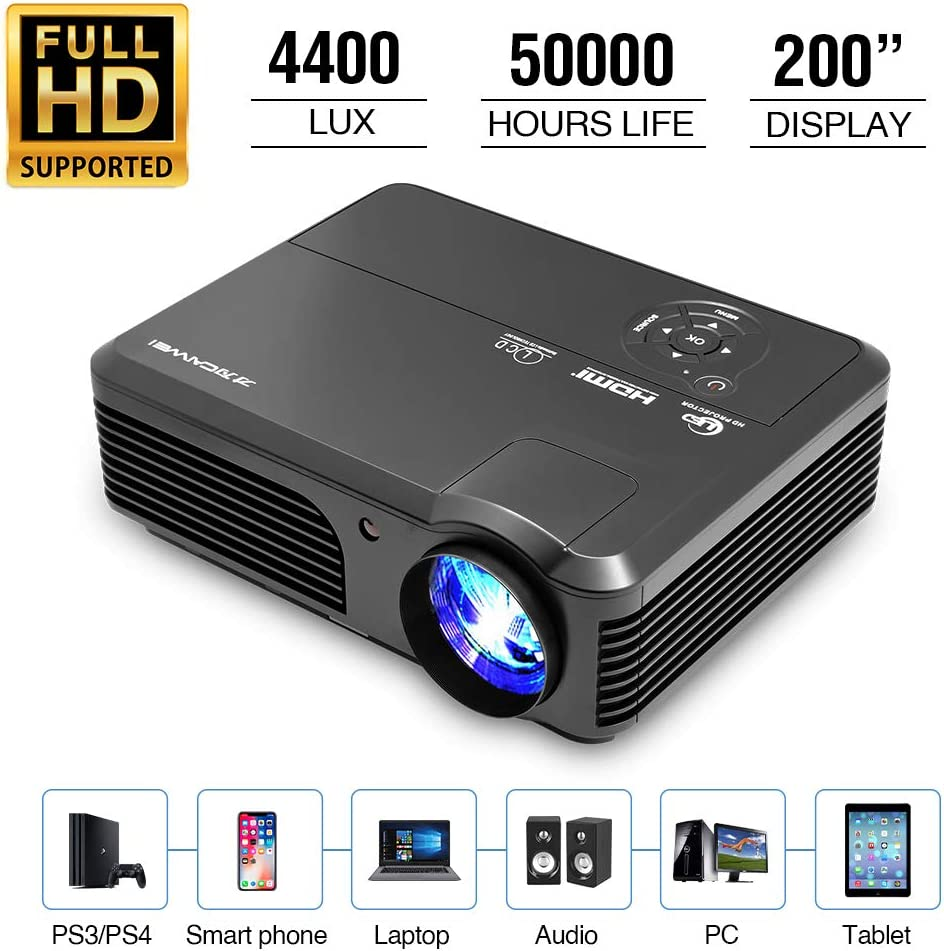 1080P HD Supported Video Projector, 4400 Lumen Home Theater LED Projector with 50,000 Lamp Life, with Smartphone, DVD, Laptop, TV Stick, PS4, HDMI/USB/VGA/AV, Movie Projector for Home Entertainment