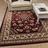 Quality Traditional Classic Red Rug, (120x170cm (4'x5'6''), Red) Carpet