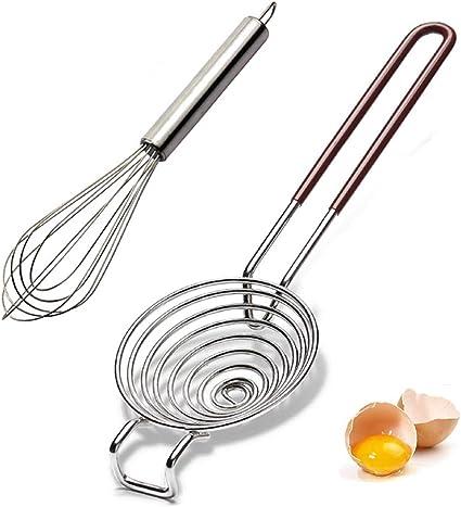 Juego de 2 separadores de huevos de acero inoxidable para cocinar y agitar separador de yema de huevo, fácil de separar proteínas y yema de huevo, ...