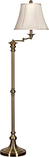 Nora Antique Brass Swing Arm Floor Lamp