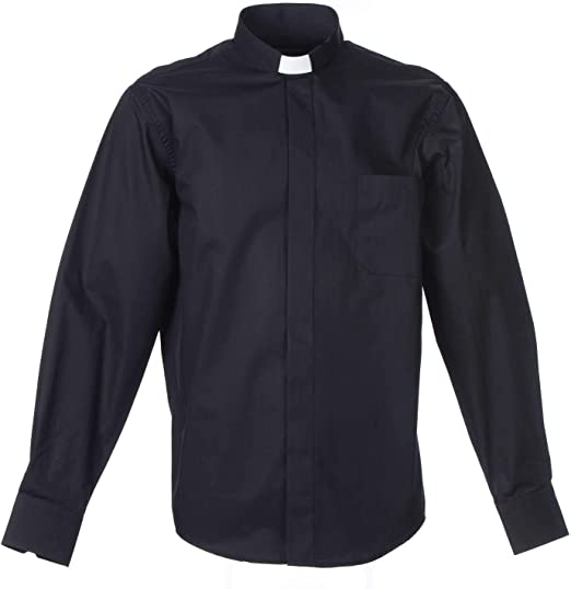 Holyart Camisa Clergy Manga Larga Planchado Facil, Mixto Algodón Espigado Negro, 42 cm (16.54 Inc.): Amazon.es: Hogar