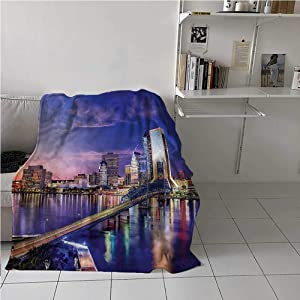 carmaxs Dog Blanket Urban for Couch Home Bedroom Living Room Jacksonville Florida Building 70 x 90 Inches
