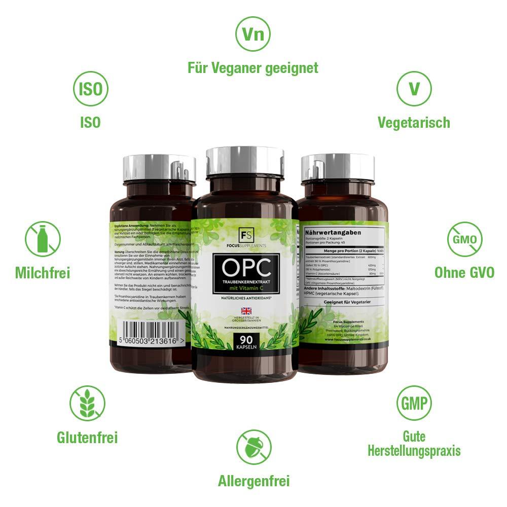 Extracto de semilla de uva - 600 mg | Con 80 mg de vitamina C añadida por porción | SOPORTE ANTIOXIDANTE POTENTE | Para el corazón y apoyo inmunológico ...