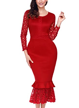 58929233708 BLENCOT Women s Hollow-Out Long Sleeves Lace Ruffle Bodycon Midi Dress-Red  Medium