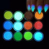 Minejin Glow In Dark Luminescent Nail Art Powder Night Fluorescent Pigment Dust 3D DIY Decoration Tips 12Colors