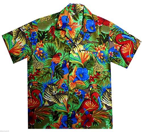V.H.O Funky Hawaiian Shirt Men Short Sleeve Front-Pocket Jungle Animals Multiple Colors