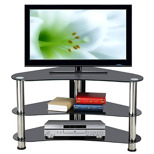 Popamazing Black Glass Corner TV Stand Unit 3 Tier for 26 to 42 ...