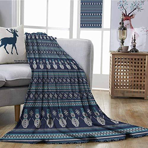 - SONGDAYONE Multi-Pattern Blanket Nordic Travel Blanket Snowman Pattern Geometric Angled Lines Chevron Zigzag Knitting Design Dark Blue Turquoise White W60 xL80
