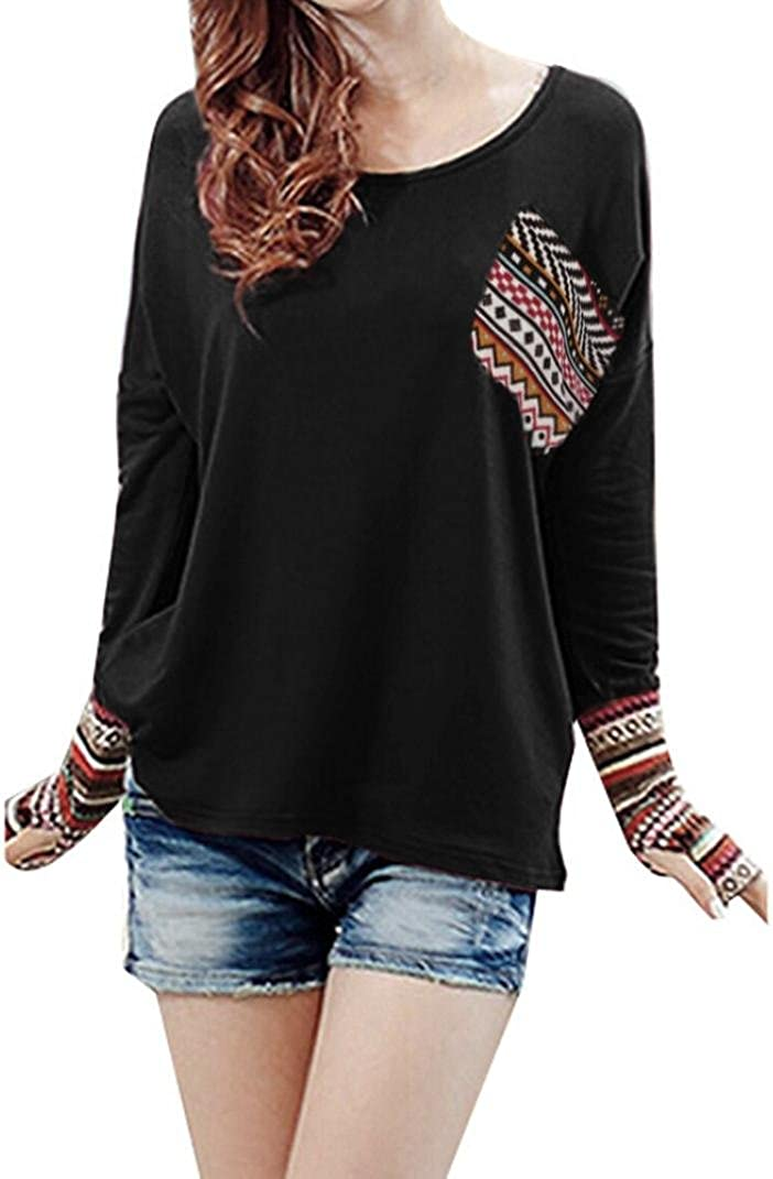Black, Size: S LILICAT Women Long Sleeve Tops Womens Ladies Patchwork Casual Loose T-Shirts Blouse Tops with Thumb Holes