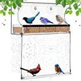 Miracliy Window Bird Feeder with Bottom Swing Strong Suction Cups & Seed Tray, Bird Swing Outdoor Birdfeeders for Cat Wild Birds, Large Outside Hanging Birdhouse Kits, Drain Holes Large Dimensions