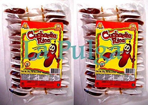 2 - Cucharita Rica Tamarind Flavored Mexican Candy Spoon Tamarindo 24 pcs Each Spoon Candy