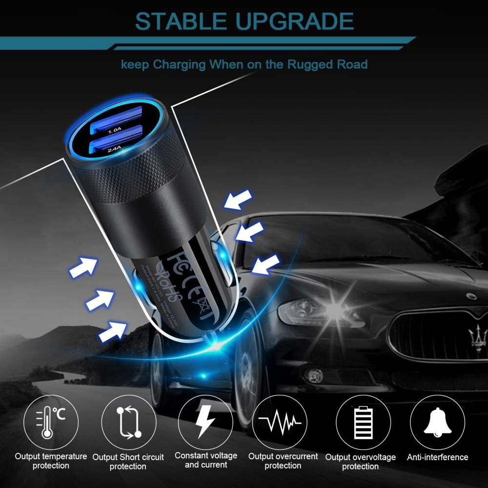 Note 20 Ultra 10 9 8 LG 3.4A Dual Port Fast USB Car Charger Adaptor for Samsung Galaxy S20 Ultra S20+ S10 S9 S8 S7 S6 iPhone 11 Pro X XR XS Max 8 7 6 Plus 2 Pack AILKIN Car Charger,