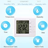 PAI ZHU SHANG Indoor Thermometer and Humidity Gauge Digital Hygrometer Large Display Digital Wall Desk Alarm Clock with Date Calendar Backlight Temperature Monitor