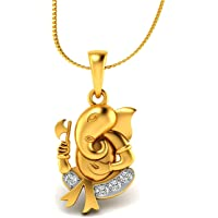 Chandrika Pearls Ganesh Gold and Rhodium Plated Alloy God Pendant for Men & Women Made with Cubic Zirconia