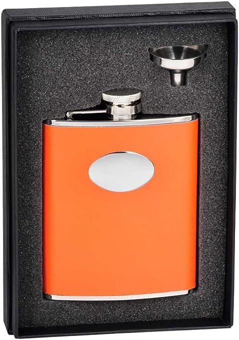 Amazon Com Visol Holiday Essential Sunbeam Orange Leather Liquor Flask Gift Set 6 Oz Silver Flasks