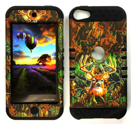 CellPhone Trendz Hybrid 2 in 1 Case Hard Cover Faceplate Skin Black Silicone and Camo Mossy Hunter Deer Snap Protector for Apple iPod iTouch 5 (5th Generation)