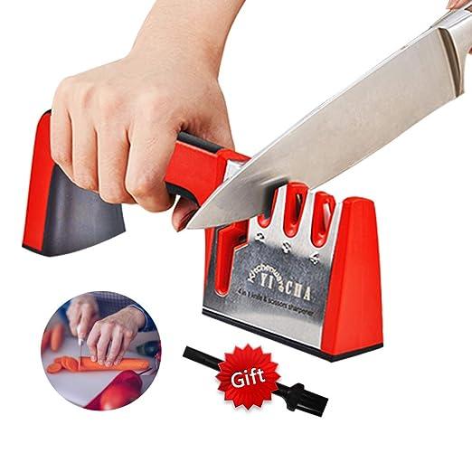 YICHA Kitchenware 4 en 1 afilador de cuchillos cepillo de limpieza ...