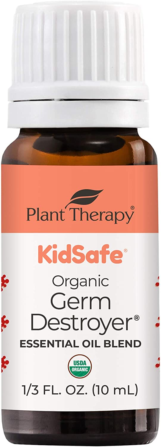 Plant Therapy KidSafe Organic Germ Destroyer Essential Oil Blend 10 mL (1/3 oz) 100% Pure, Undiluted, Therapeutic Grade