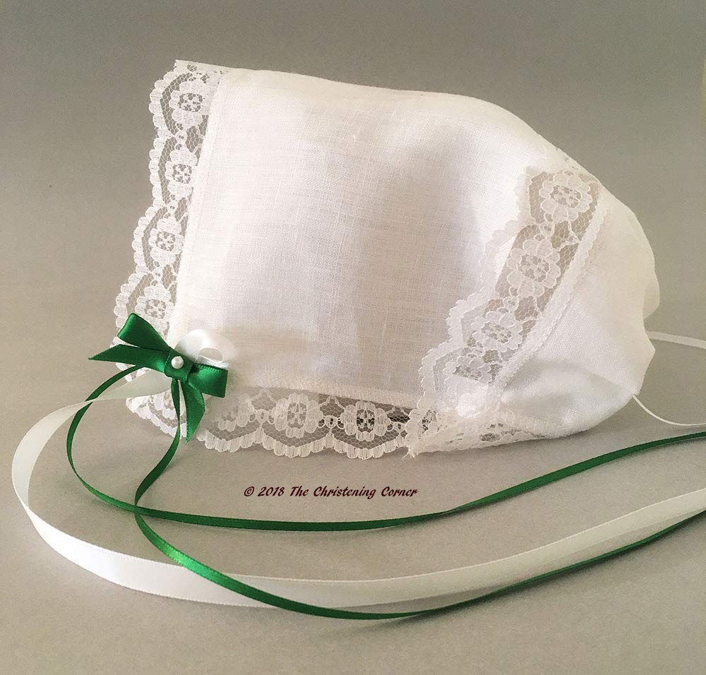 Christening Bonnet white ivory SATIN Hankie for wedding boy or girl any color