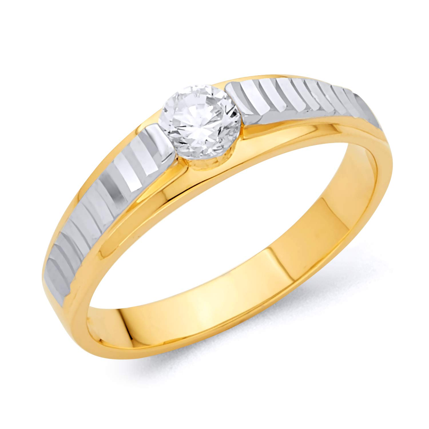 Wellingsale Mens 14K Two 2 Tone White and Yellow Gold Polished CZ Cubic Zirconia Wedding Ring Band