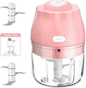 Electric Mini Garlic Chopper, Garlic Press With USB Charging, Vegetable and Garlic Mincer, Mini Food Processor For Onions/Chili/Meat/Nuts/Ginger/Baby Food -250ML(Pink)