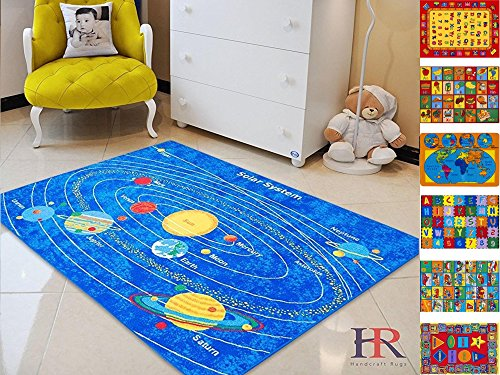 HR'S 8FTX11FT KIDS EDUCATIONAL/PLAYTIME, NON-SLIP RUG 7FT.4INX10FT.4IN (SOLAR SYSTEM) by Handcraft Rugs
