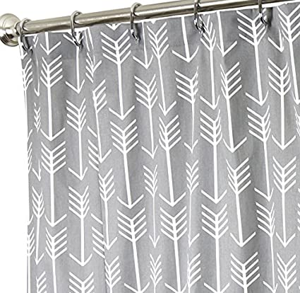 Extra Long Shower Curtain Fabric Curtains Bathroom Arrow Gray 96quot