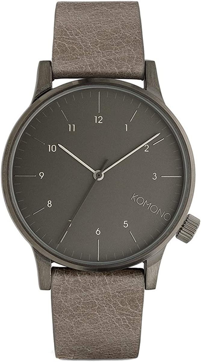 KOMONO Winston Regal Stainless Steel Japanese-Quartz Watch with Leather Strap, Grey, 21 Model KOM-W2256