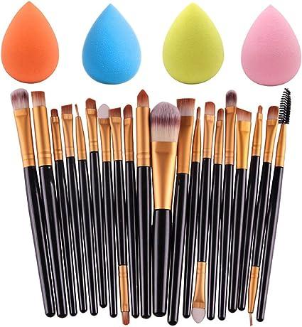 Juego de 4 esponjas de maquillaje con 20 brochas de maquillaje, 4 colores de base de maquillaje y esponjas de maquillaje profesional para sombra de ojos: Amazon.es: Belleza
