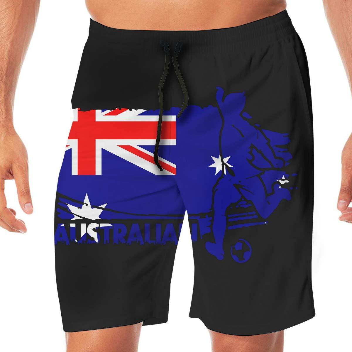 GHYGTY New Zealand Flag Soccer Football11 Mens Swim Trunks Board Shorts Swimming Trunks Sports Pants for Jogging