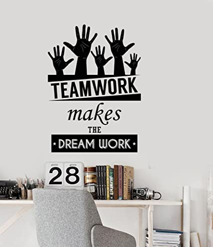 N sunforest office inspirational words wall decal teamwork makes the dream work motivational quotes home