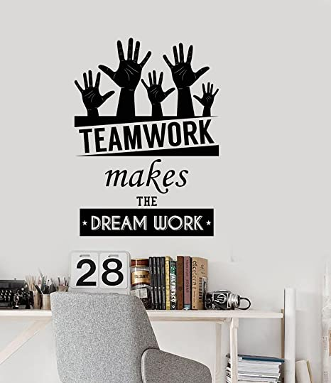 N.SunForest Office Inspirational Words Wall Decal Teamwork Makes The Dream  Work Motivational Quotes Home or Office Decor
