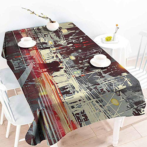 Homrkey Washable Table Cloth Modern Urban City Streets at Gloomy Night with People Downtown Dramatic Illustration Red Blue Grey Easy to Clean W52 xL72