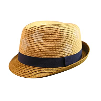 ACVIP Kids Boy Girl Star Straw Trilby Fedora Hat Jazz Cap (Coffee Brim)   Amazon.co.uk  Clothing 1c71e06bea55