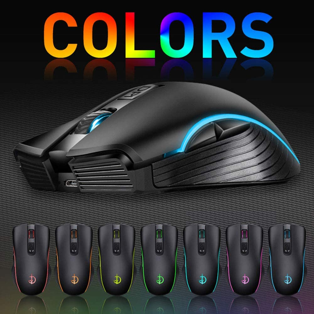 Gaming 2.4G Wireless Mouse with 6 Button,Colour Breath Light Adjustable 1600Dpi Optical Mouse,Slim Silent Ergonomic Design,for PC Laptop