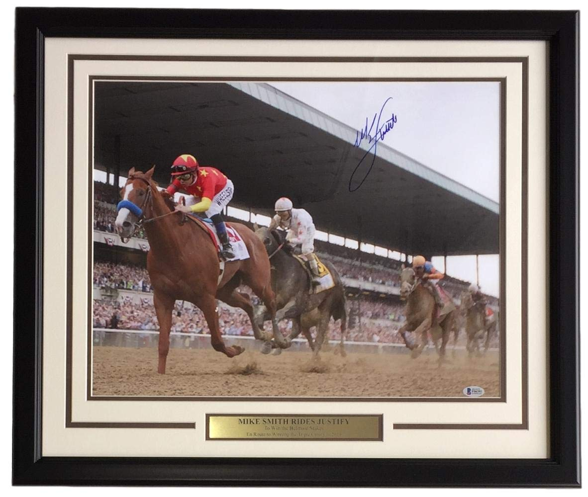 Mike Smith Signed Framed 16x20 Justify Belmont Stakes Victory Front Photo BAS
