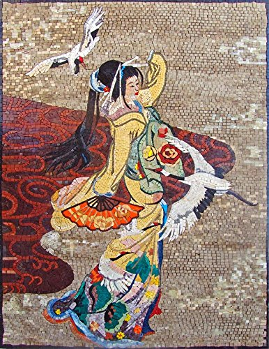 Mozaico - Dancing Japanese Geisha Marble Mosaic Mural Design Artwork MS313 by Mozaico