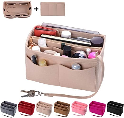Purse Organizer Insert, Felt Bag organizer with zipper, Handbag & Tote Shaper