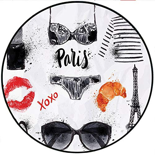Glass Collection Images Tile - Short Plush Round Carpet Collection Various Symbols of Eiffel Tower Glasses Lipstick Shoes Lingerie Accessories Image Red Black White Bedroom Study Super Soft 35.4