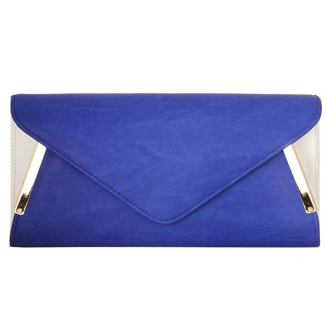BMC Womens PU Leather White Accent Envelope Clutch - Blue