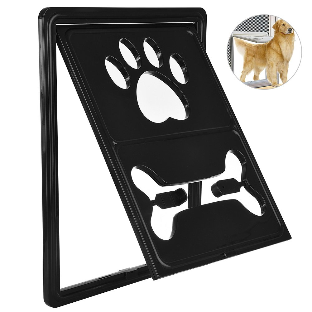Petacc Multi-functional Pet Screen Door Rotary Dog Gate Way Practical Pet Passage Screen Door with Snap Latch and Automatic Lock Design, Suitable for Most Door and Window Screen (Black)