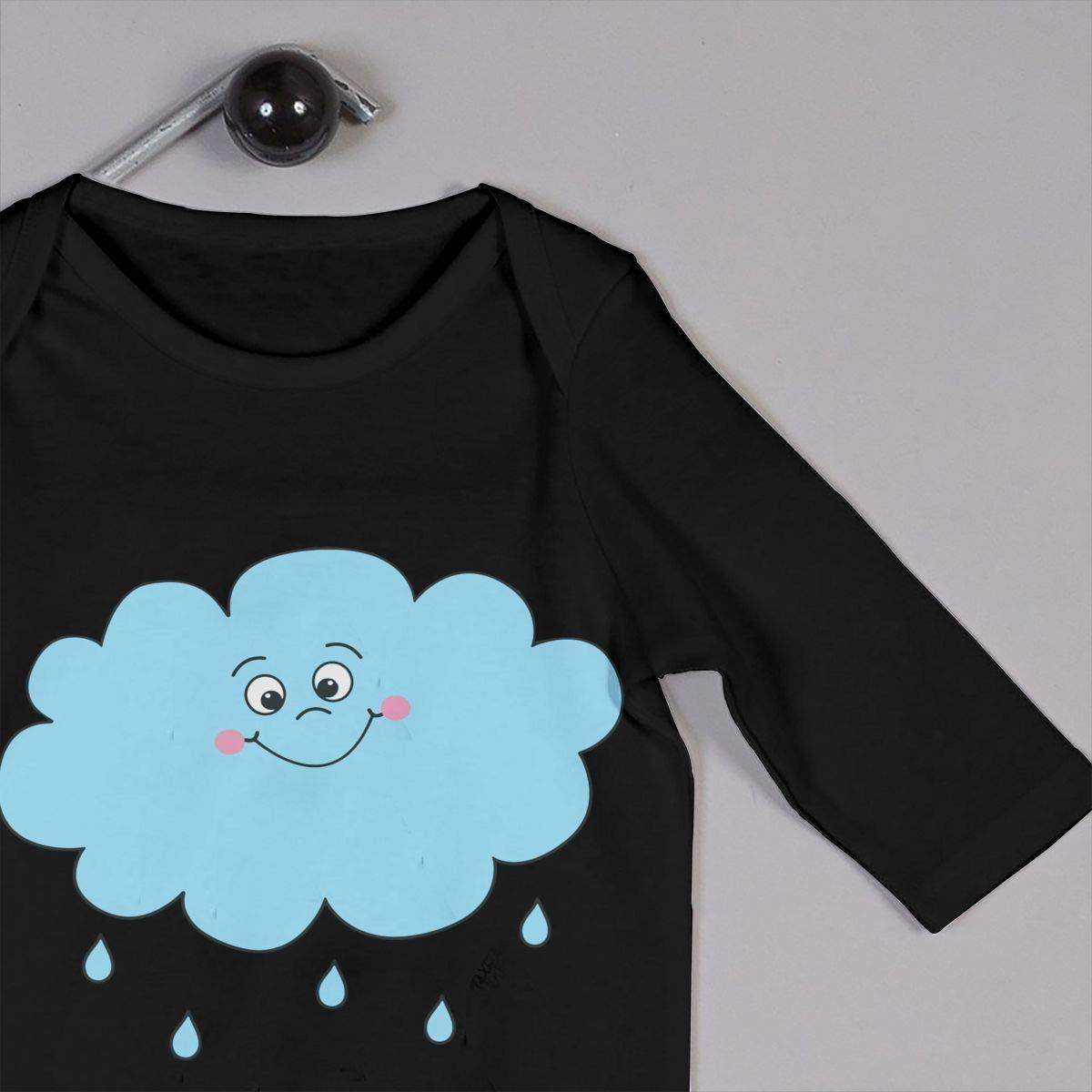 Happy Rain Cloud Baby Girls Long Sleeve Infant Cotton Bodysuits Onesies