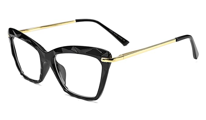 bc526ad4a6f Image Unavailable. Image not available for. Color  FEISEDY Cat Eye Glasses  Frame Crystal Non Prescription Eyewear ...