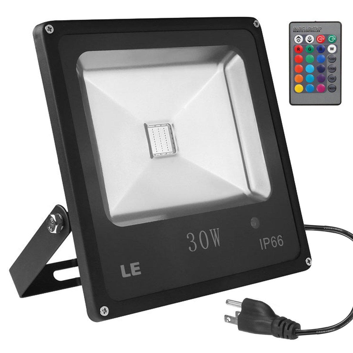 LE RGB 30W LED投光器 リモコン操作 調光 調色 16色 4発光モード 省エネ 広角120° ACプラグ付属(1m)可搬型 防水仕様IP66 投光機 フラッドライト 舞台照明 看板灯 作業灯 ワークライト B00MHLIJ6W 13662