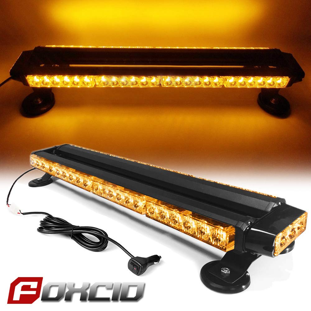 Ediors 26' 54 LED Emergency Warning Security Roof Top Flash Strobe Light Bar with Magnetic Base, for Plow or Tow Truck Construction Vehicle (Amber) FOXCID