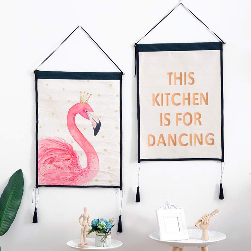 Yililay Pinturas Mini Flamenco Tapiz de Cuadros de la Pared de Fondo de Tela de Desplazamiento Cartel de Casa Comprar 45 61cm Rosa