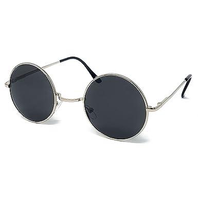 44c0dc12f Round Lens Sunglasses [Black Frame, Black Lens]: Amazon.co.uk: Clothing
